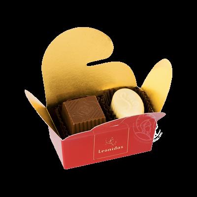 Leonidas Ballotin Assortiment Pralines/Chocolats 2 Pièces Fantaisie Rouge